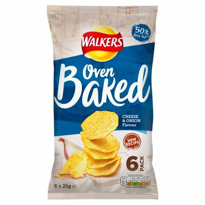 WALKERS BAKED CRISPS CHEESE & ONION 6 PACK 150G