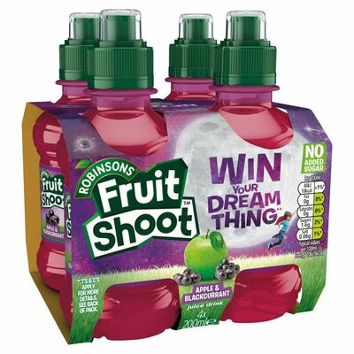 Robinsons Fruit Shoot Blackcurrent & Apple No Added Sugar MultIPAck 4 x 200ml