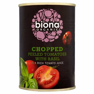 Organic Chopped Tomatoes With Fresh Basil 400g