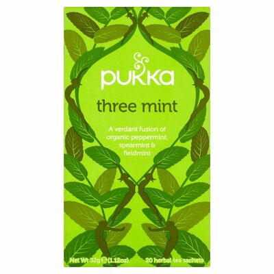 Pukka Organic Three Mint 20 Herbal Tea Bags 32g