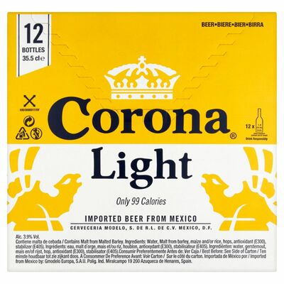 CORONA LIGHT BOTTLES BOX 12 X 355ML