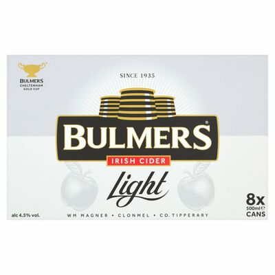 BULMERS LIGHT CAN PACK 8 X 500ML