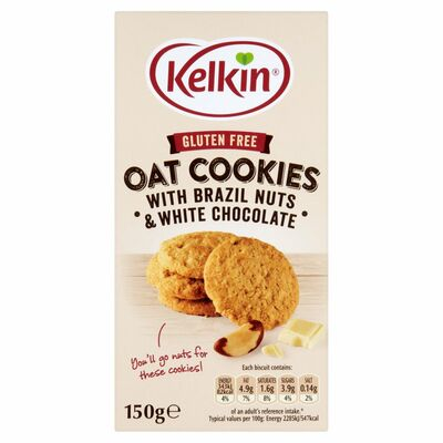 Kelkin Gluten Free Oat Cookies With Chocolate & Brazil Nut 150g