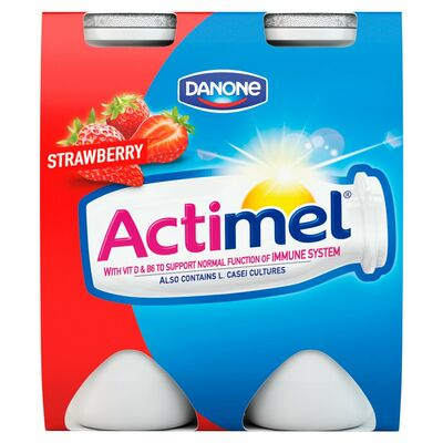 Danone Actimel Strawberry 4 Pack 100g