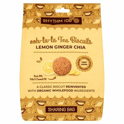 Rhythm 108 Tea Biscuit Lemon Ginger Chia Sharing Bags 160g