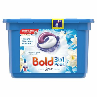 Bold 3In1 Lotus & Water Lily Pods 16 Wash 422g