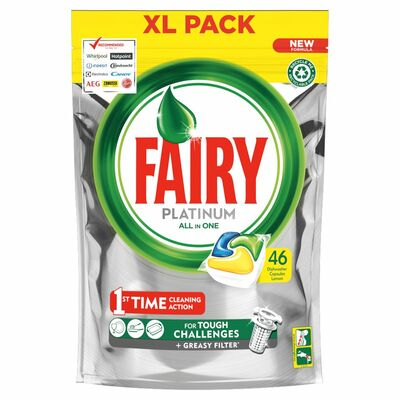 FAIRY PLATINUM LEMON DISHWASHER TABLETS 46PCE