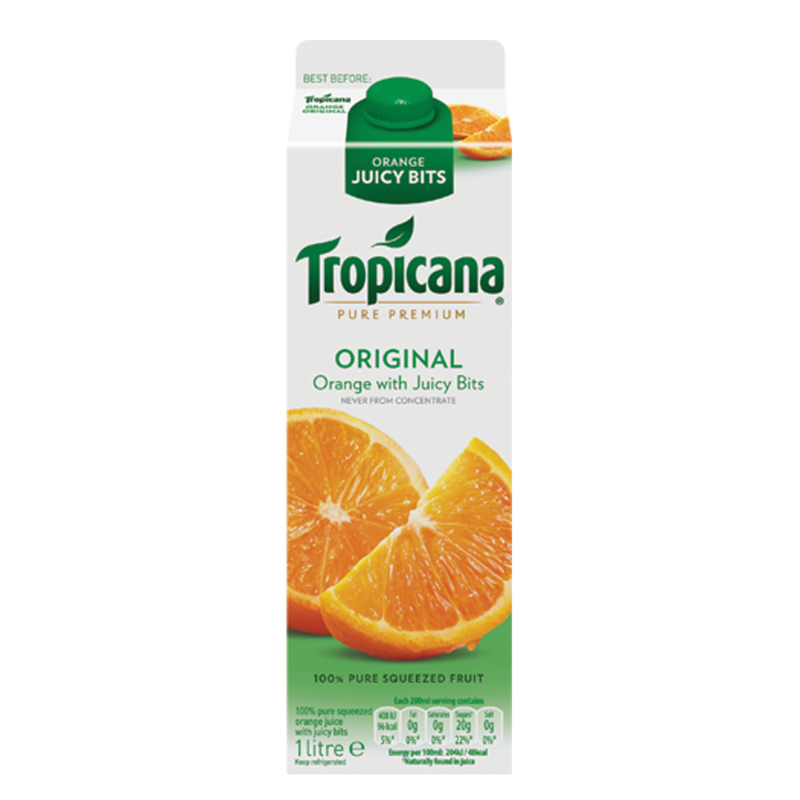 Tropicana Pure Premium Original Orange WithJuicy 1L