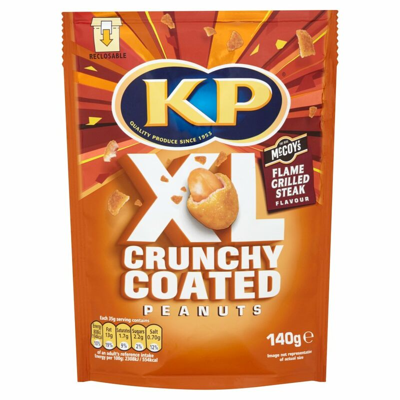 KP XL Crunchy Coated Peanuts McCoy's Flame Grilled Steak Flavour 140g