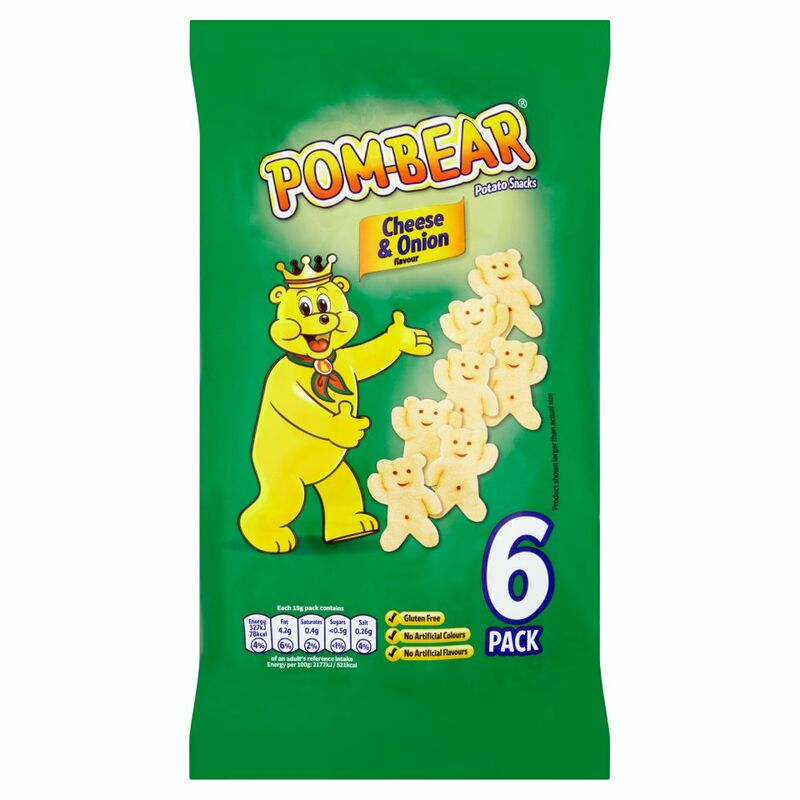 Pom-Bear Cheese & Onion Flavour Potato Snacks  6 x 15g