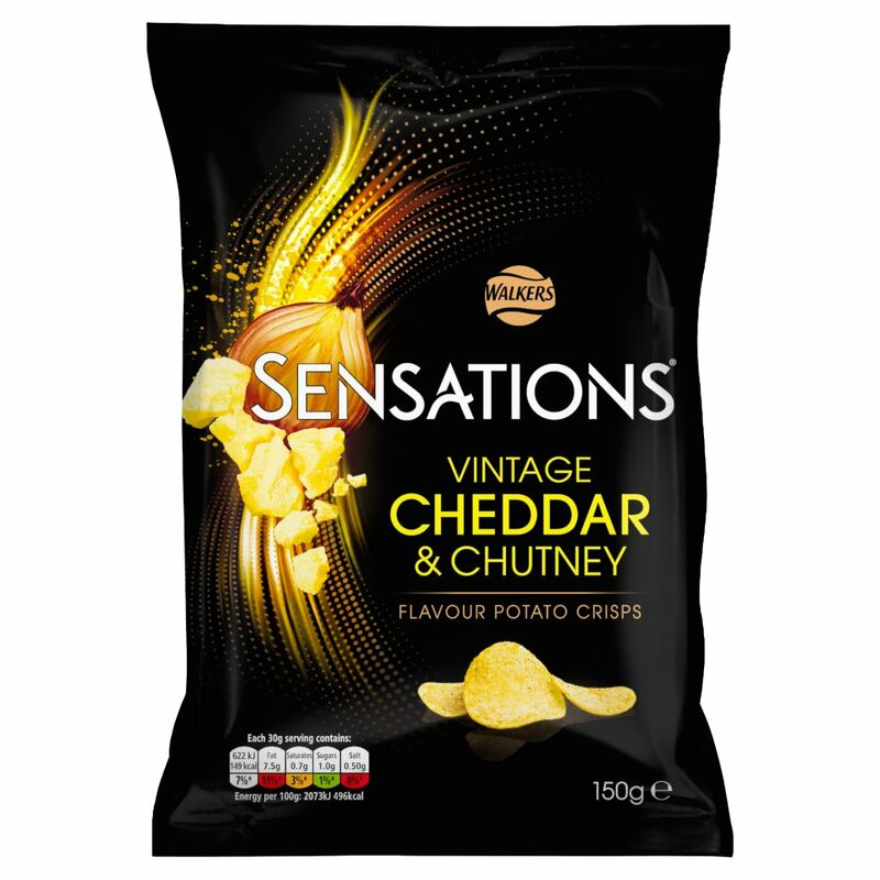 Walkers Sensations Cheddar & Onion Chutney Crisps 150g
