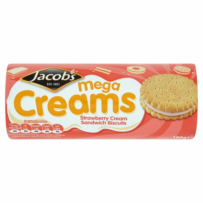 Jacob's Mega Creams Strawberry Cream Sandwich Biscuits 180g