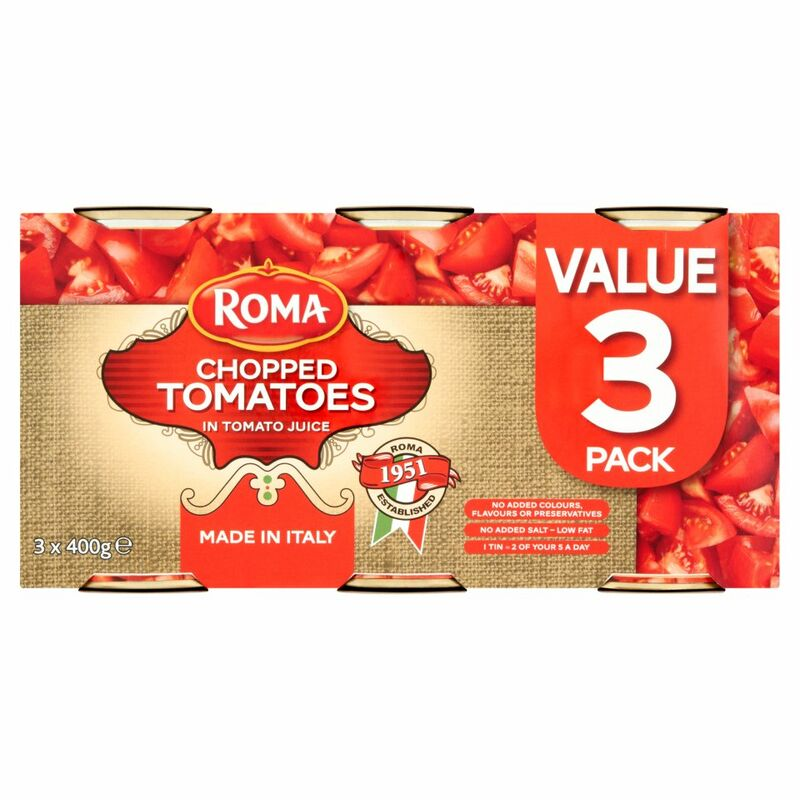 Roma Chopped Tomatoes in Tomato Juice 3 x 400g