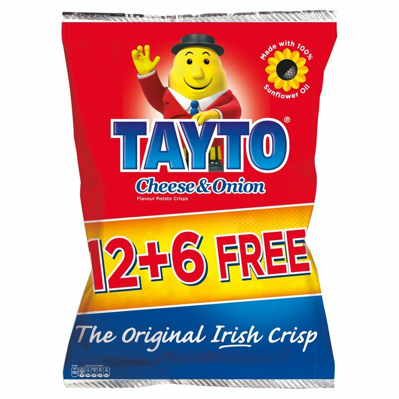 Tayto Cheese & Onion Flavour Potato Chips 18 x 25g