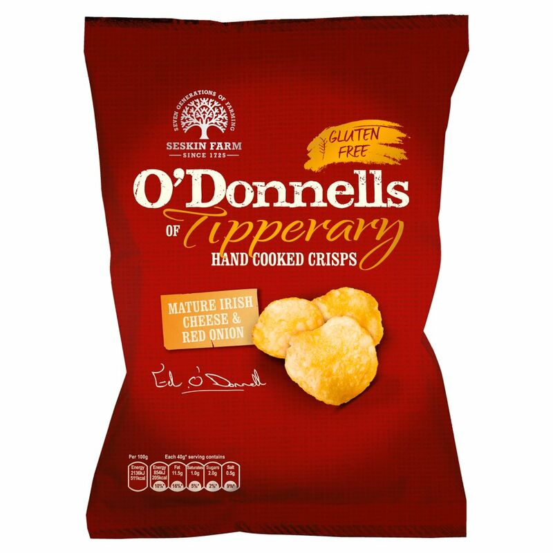 O'Donnells of Tipperary Hand Cooked Crisps Mature Irish Cheese and Red Onion Flavour 125g
