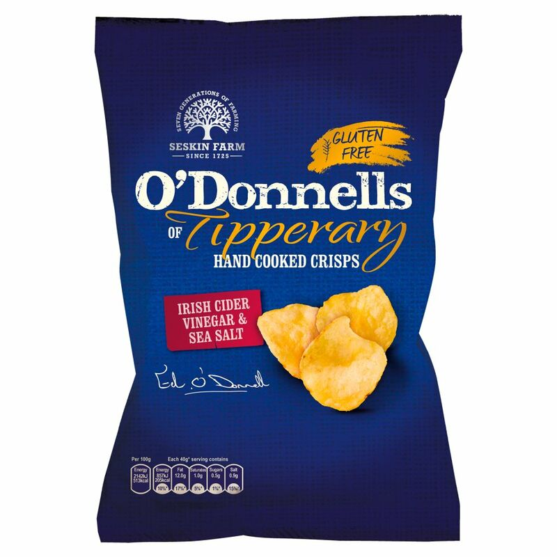 O'Donnells of Tipperary Hand Cooked Crisps Irish Cider Vinegar & Sea Salt Flavour 125g