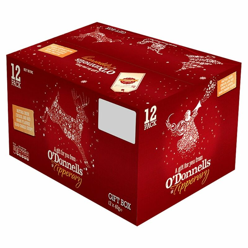 O'Donnells of Tipperary Mature Irish Cheese & Red Onion Flavour Hand Cooked Crisps Gift Box 12 x 40g
