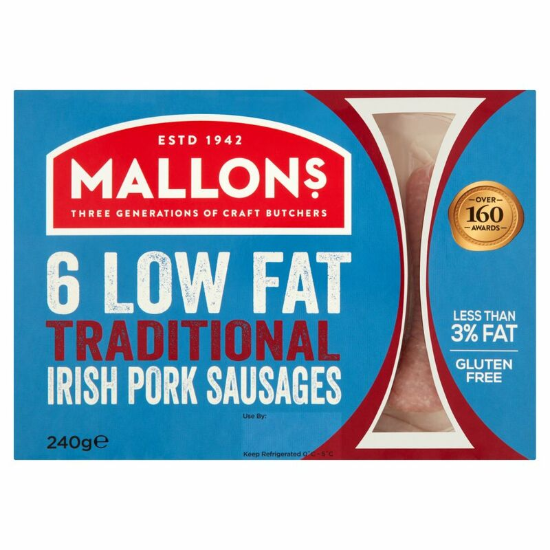 Mallon's 6 Low Fat Traditional Irish Pork Sausages 240g