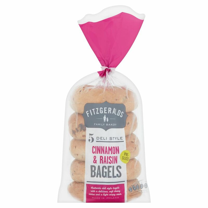 Fitzgeralds Family Bakery 5 Deli Style Cinnamon & Raisin Bagels 425g