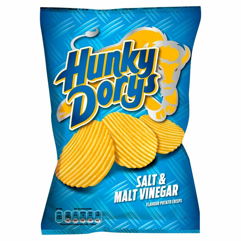 Hunky Dorys Salt & Malt Vinegar Flavour Potato Crisps 135g