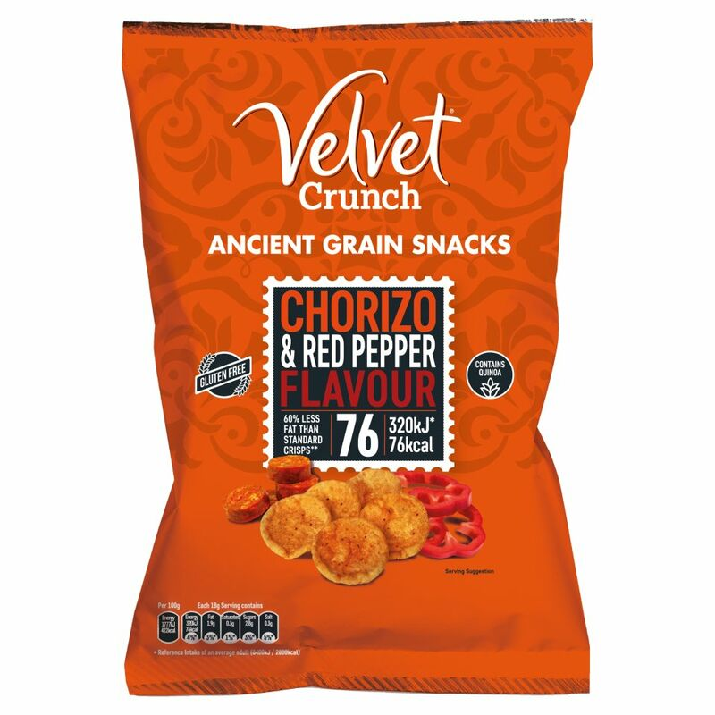 Velvet Crunch Ancient Grain Snacks Chorizo & Red Pepper Flavour 90g