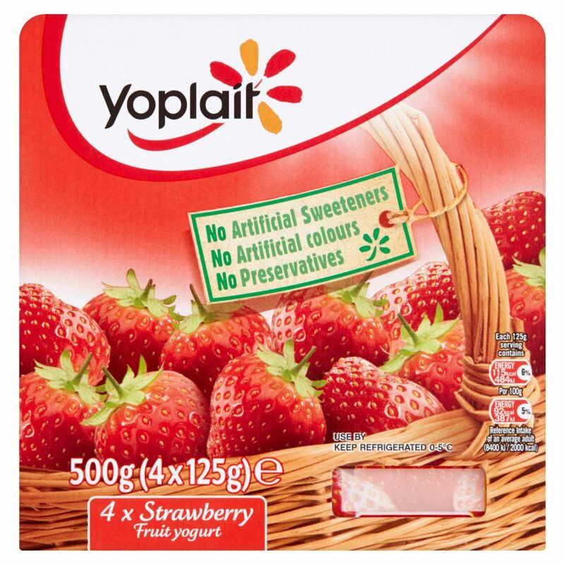 Yoplait Strawberry Fruit Yogurt 4 x 125g (500g)