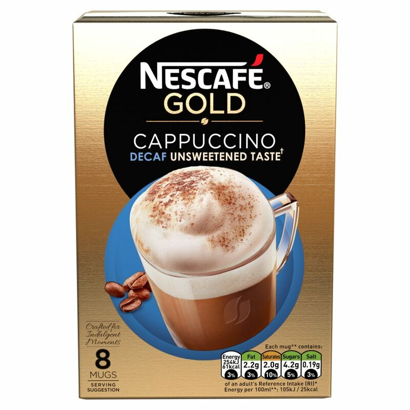 NESCAFÉ GOLD Cappuccino Decaf Unsweetened Taste Coffee, 8 Sachets x 14.2g