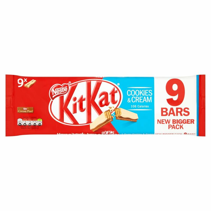 KITKAT 2 Finger Cookies & Cream Chocolate Biscuit Bar 9 Pack