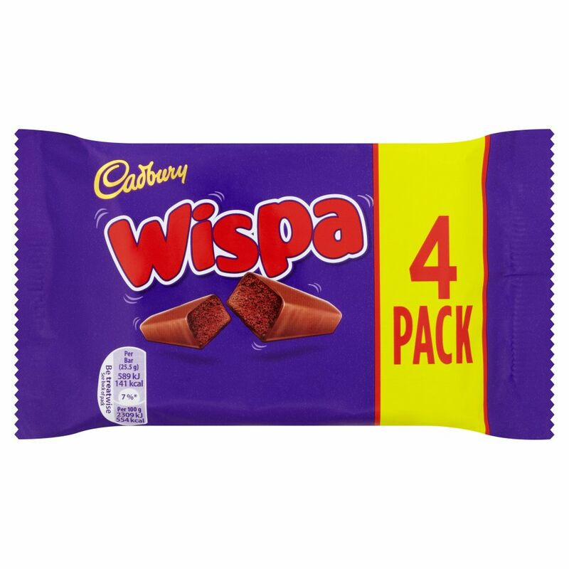 Cadbury Wispa Chocolate Bar 4 Pack 102g
