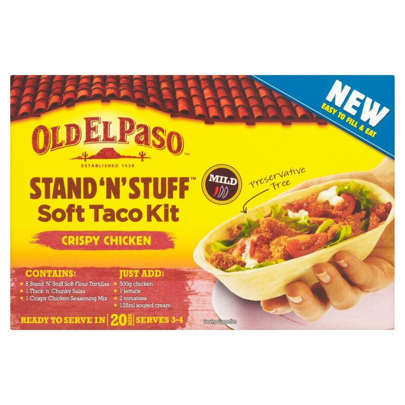 Old El Paso Stand 'N' Stuff Soft Taco Kit Crispy Chicken 351g