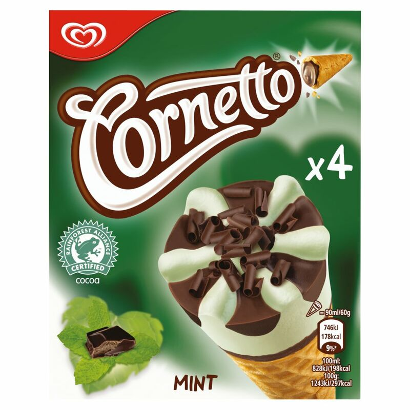 Cornetto Mint Ice Cream Cone 4 x 360ml