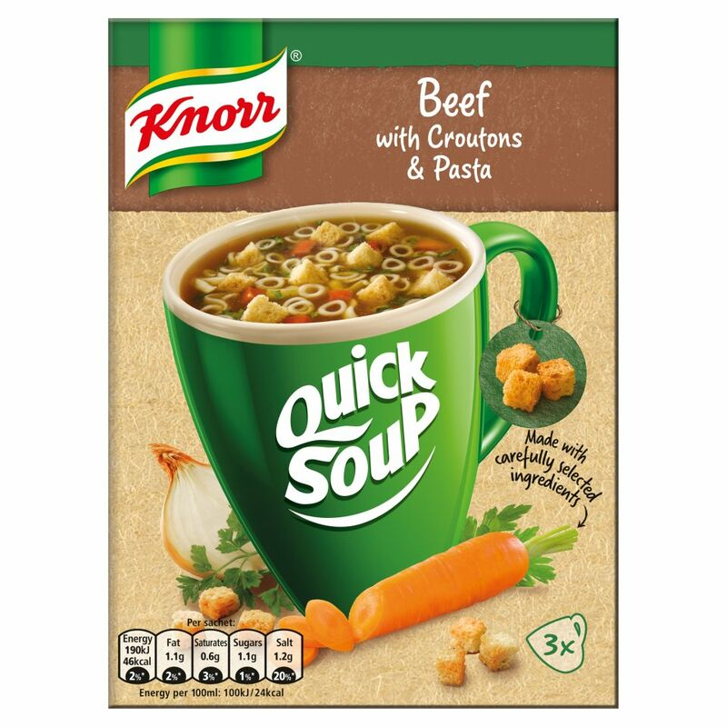 Knorr Quick Soup Beef with Croutons & Pasta 3's 42g