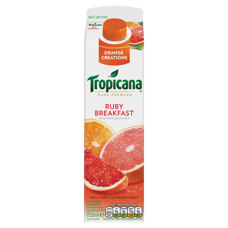 Tropicana Orange Creations Pure Premium Ruby Breakfast 850ml