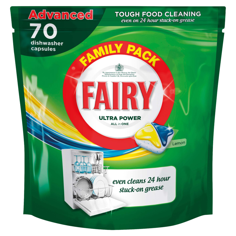 Fairy Ultra Power All in One Lemon Dishwasher Tablets 70 Pack