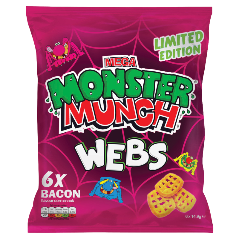 Mega Monster Munch Limited Edition Webs Bacon Flavour Corn Snack 6 x 14.9g