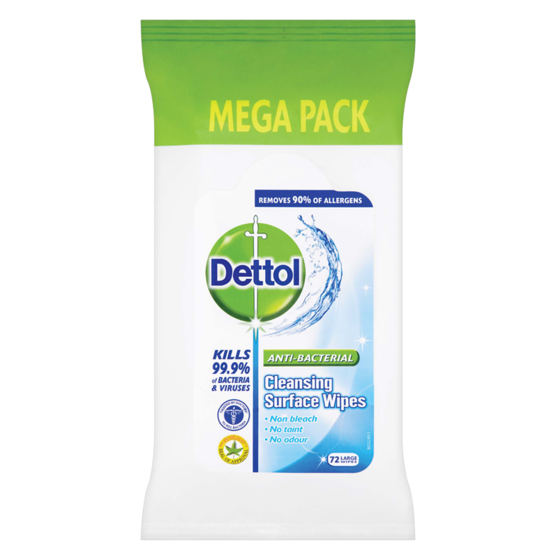 Dettol Anti Bacterial Cleansing Surface Wipes 72