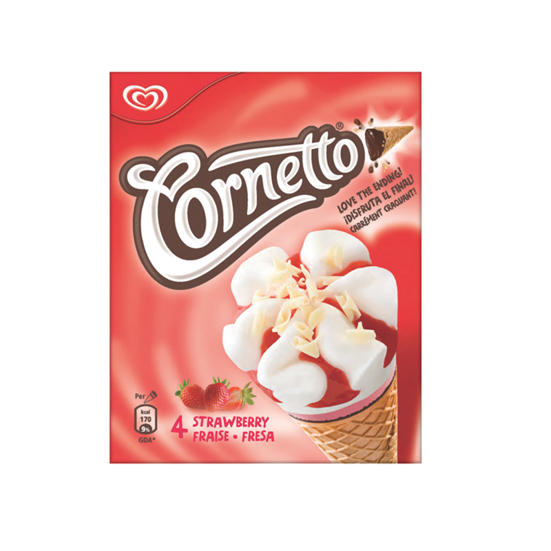 Cornetto Strawberry Ice Cream Cone 4 x 90ml